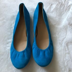 J.Crew Blue Turquoise Suede Ballet Flats